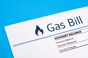 Gas bill on blue background