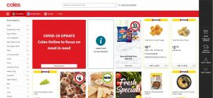 Coles online delivery shopping coronavirus