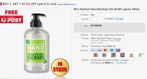 désinfectant pour les mains ebay disponible en Australie