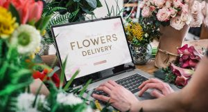 woman using flower interface