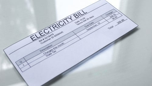 Electricity bill on table