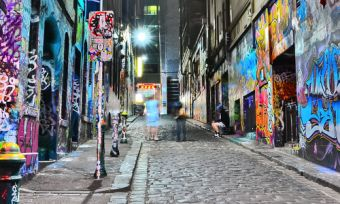 Laneway with wall art in Melbourne city