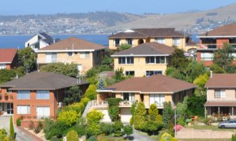View of Tasmanian houses and water in background