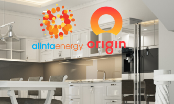 Kitchen with lights and Alinta and Origin logos