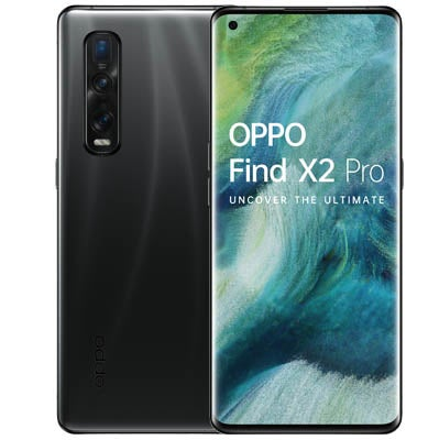 Back and front of OPPO Find X2 phone in black