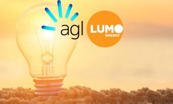 AGL vs Lumo Energy on light bulb beach background
