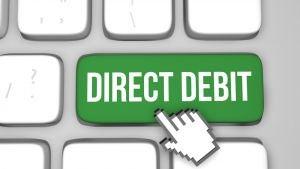 Direct debit on computer keyboard