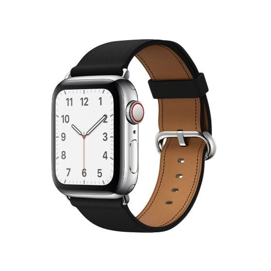 An Apple Watch with a Leather Buckle