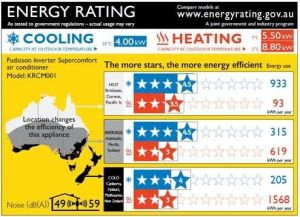 Australian heating and cooling energy efficiency star rating label