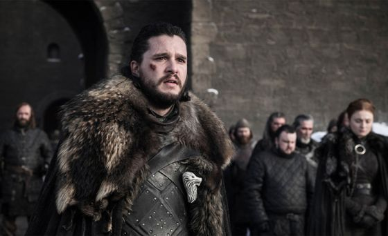 Still of Jon Snow at Winterfell from Season 8 of HBO show Game of Thrones