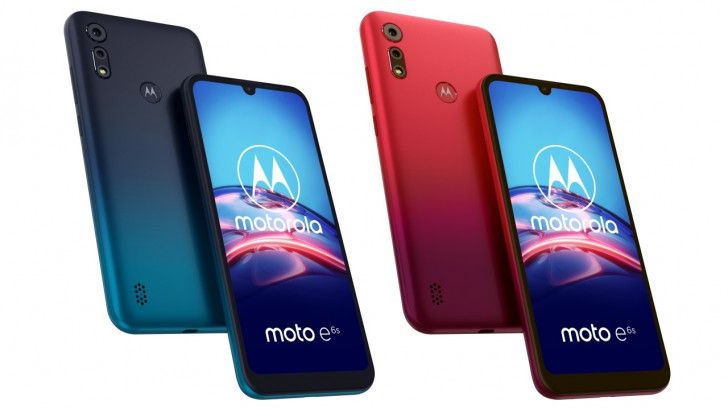 Moto e6s in blue and red