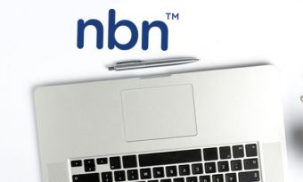 Laptop on white background with NBN logo