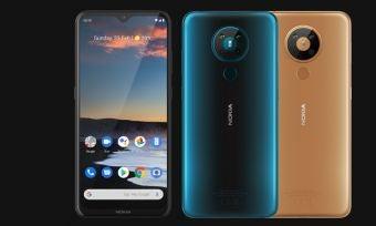 Nokia 5.3 smartphone in three colours