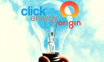 Click vs Origin logos with light bulb and sky background