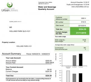 Queensland water bill example
