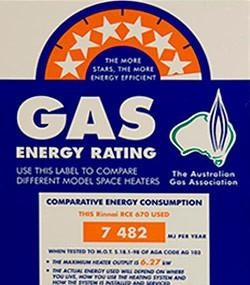 Australian gas energy efficiency star rating label