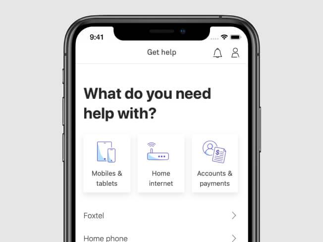 Screenshot of MyTelstra App help screen