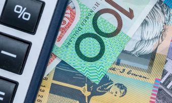 Calculator with Australian money and pen