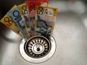 Australian money in kitchen drain
