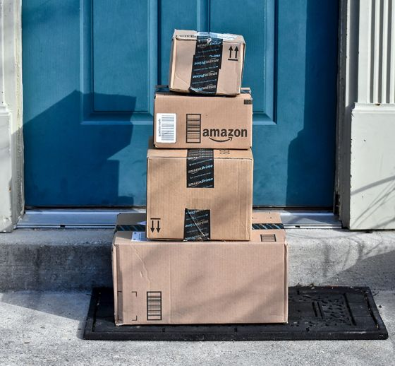 Pile of Amazon Prime packages on doorstep