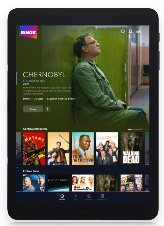 Binge shows homepage with Chernobyl still on tablet device