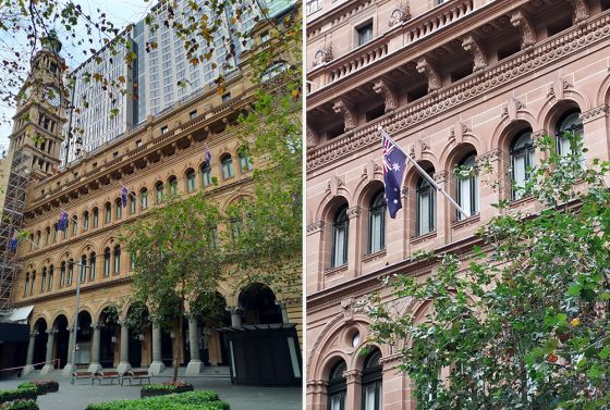 Wide and zoomed photos of Sydney post office building in Martin Place