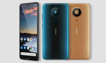Nokia 5.3 phone in three colours against light background