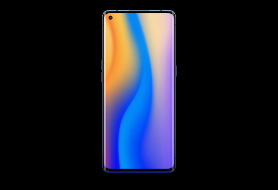 A colourful OPPO phone in front of a black background