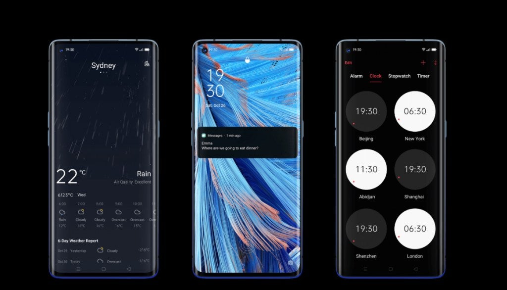 Three OPPO phones with different displays