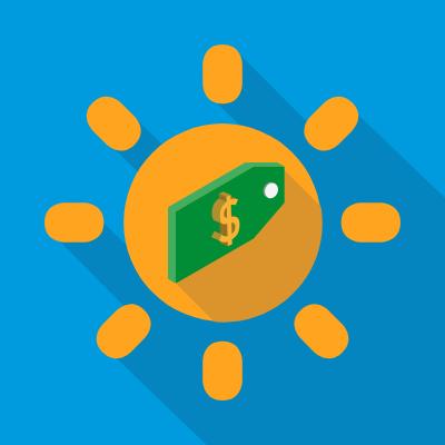 sun solar money concept