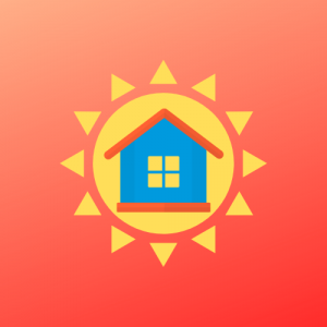 House and sun icon with orange background