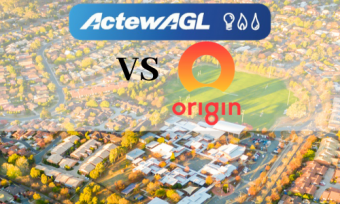 Birds eye view of houses with actewagl and origin logos