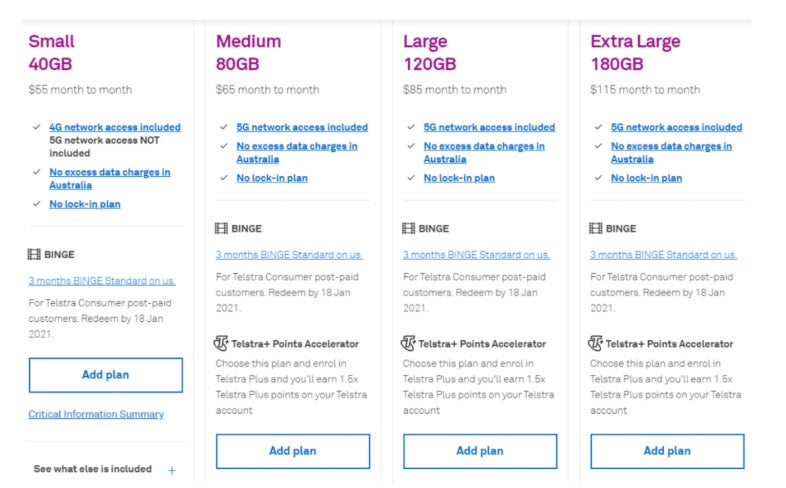 Table of new Telstra plans
