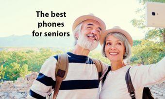 Senior couple outdoors taking selfie