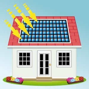 Graphic of house with solar panels and arrows