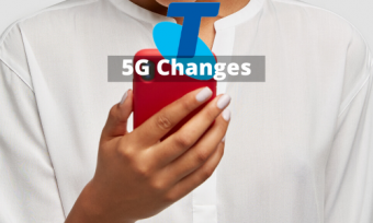 A woman using a phone behind the text '5G changes'