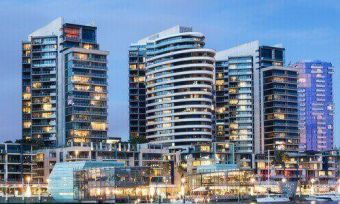 High rise apartment buildings in Melbourne at night