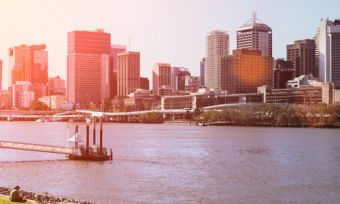 Brisbane river skyline at sunset