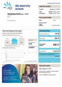 AGL bill sample in Australia