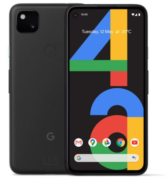 Front and back of the Google Pixel 4a in black