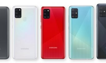 Back of five Samsung Galaxy A Series 2020 phones against white background