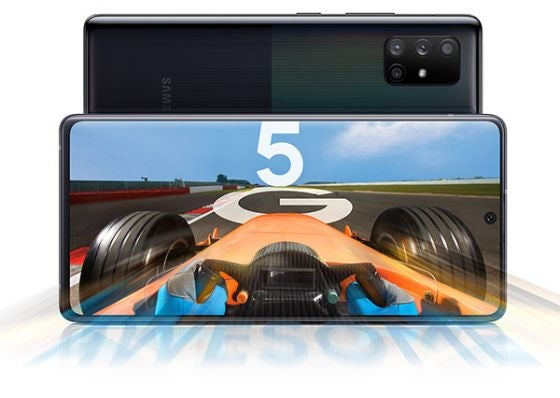 Styled shot of Samsung Galaxy A71 5G phone in black with racing game on screen