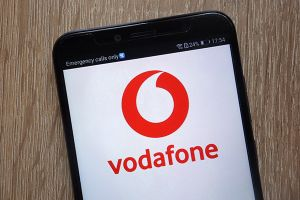 Smartphone with Vodafone logo on screen