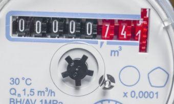 Water meter displaying water reading