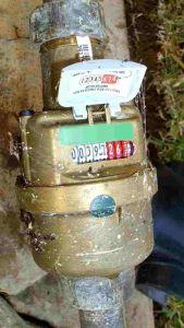 Elster water meter with lid open