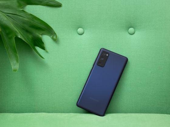 A blue Samsung Galaxy S20FE