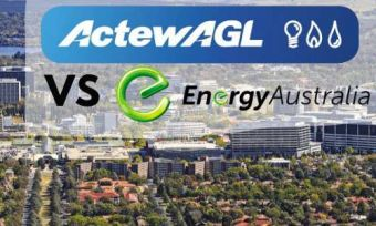 Aerial view of Canberra city with ActewAgl and EnergyAustralia logos