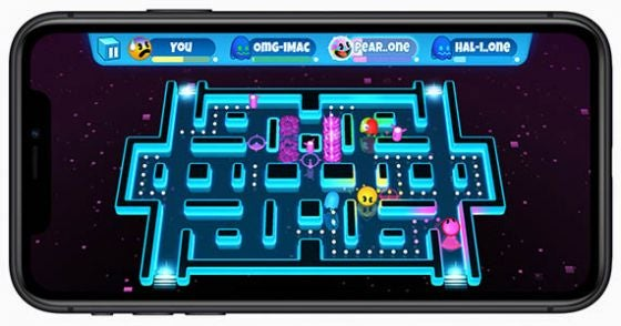 Pac Man game on Apple Arcade being played on iPhone