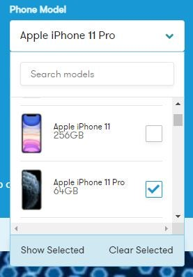 Screenshot of mobile phone plan comparison tool on Canstar Blue website