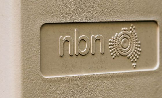 Closeup of NBN connection box outside home